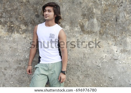 male model stand with wall #696976780