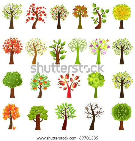 Collection Of Trees, Isolated On White Background