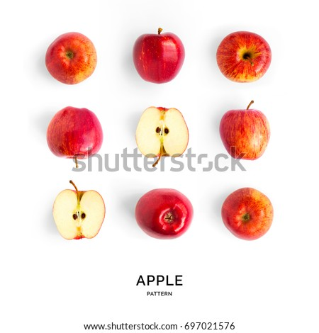 Seamless pattern with red apples. Fruits abstract background. Apple on the white background.