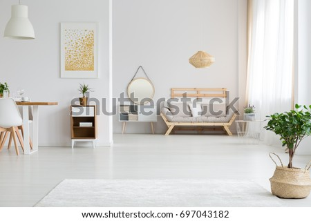 View of stylish white apartment design in lagom style #697043182