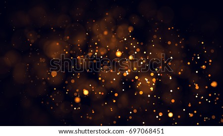 Gold abstract bokeh background. real backlit dust particles with real lens flare. glitter lights . Abstract Festivevintage lights defocused. Christmas and New Year feast. #697068451