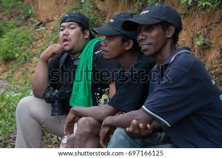 Aug 10, 2017. Kelantan, Malaysia. Indigenous people of Batek tribe in Kuala Koh. #697166125