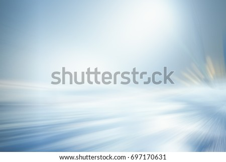 OUTDOOR BACKGROUND, FROSTY WINTER AT NIGHT, ILLUMINATED ROAD, COLD BLURRY LIGHTS, WHITE AND BLUE ABSTRACT BRIGHT BACKGROUND #697170631