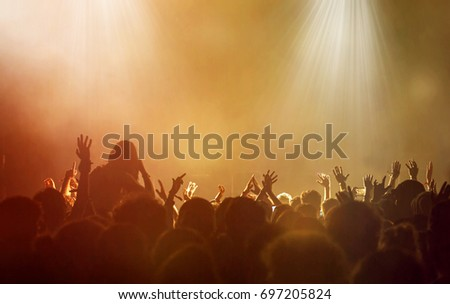 Crowd at concert - Cheering crowd in front of bright colorful stage lights #697205824