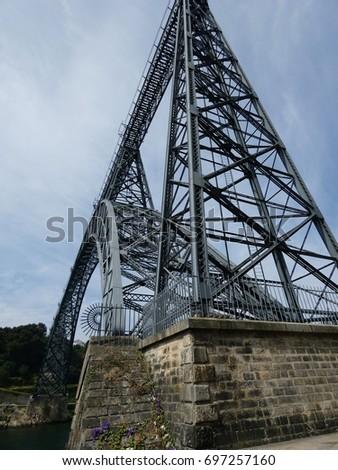 Maria Pia Bridge over Douro river in Oporto, Portugal #697257160