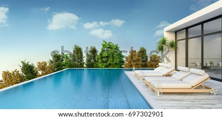 Summer ,beach lounge, sun loungers on Sunbathing deck and private swimming pool and  panoramic sea view at luxury villa / 3d rendering #697302901