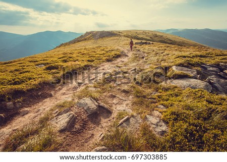 Lonely tourist walking far on dirt road of the mountain top. Hiking person in nature landscape on high attitude. Beautiful scenery in the Carpathian Mountains. #697303885