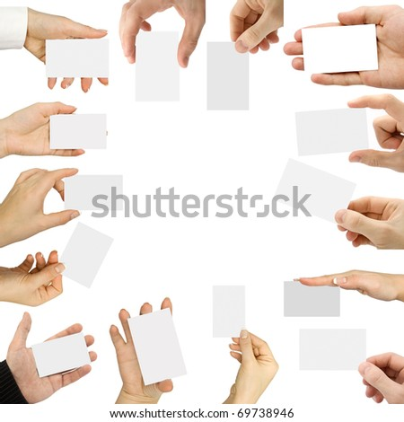 Collection card in a hand on white background