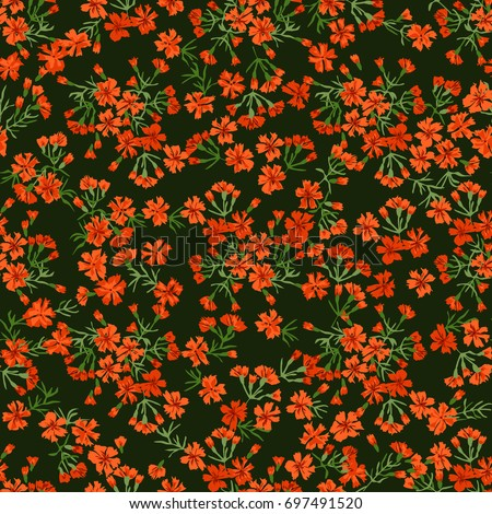 Flowery bright trendy pattern in small-scale flowers. Liberty style millefleurs. Floral seamless background for textile, surface, fabric, wallpapers, print, gift wrap and scrapbooking, decoupage. #697491520