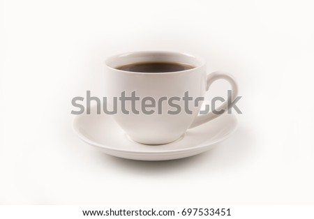 Cup  of coffee isolated on white background #697533451