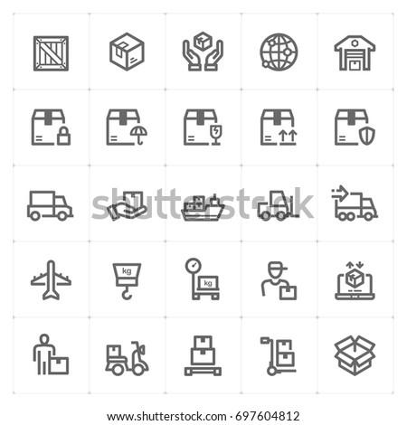 Mini Icon set - logistic and delivery icon vector illustration #697604812