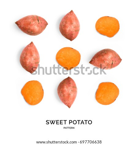 Seamless pattern with sweet potato. Vegetables abstract background. Sweet potato on the white background. Royalty-Free Stock Photo #697706638