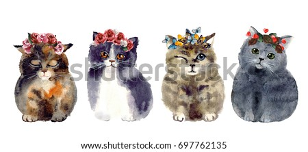 Watercolor cute cats with wreath on the white background