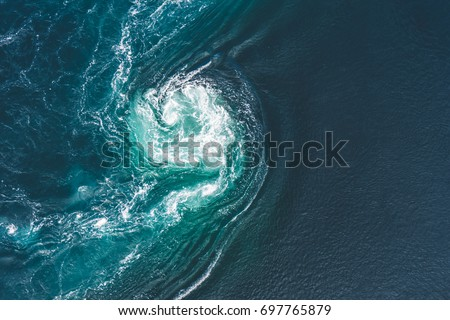 Whirlpools of the maelstrom of Saltstraumen, Nordland, Norway. Saltstraumen is a small strait with one of the strongest tidal currents in the world. By Letowa. #697765879