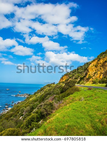 The road to the famous Cape of Good Hope. Travel to South Africa. The concept of active tourism and recreation #697805818