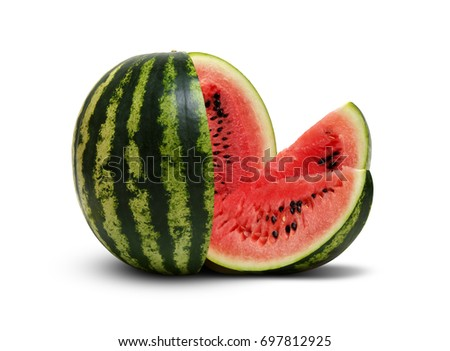 Fresh sliced watermelon isolated on white background.  #697812925