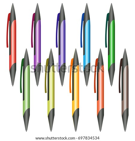 Set of multi-colored pens on a white background. Vector illustration. #697834534