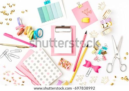 Flat lay stylish set. School stationery. Back to school concept.    Royalty-Free Stock Photo #697838992