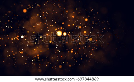Gold abstract bokeh background. real backlit dust particles with real lens flare. glitter lights . Abstract Festivevintage lights defocused. Christmas and New Year feast. #697844869