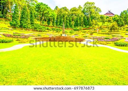 Landscape of Mae Fah Luang Garden, Thailand. #697876873