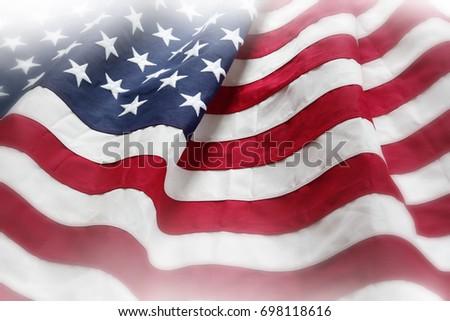 Closeup of rippled American flag #698118616