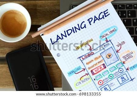 Website landing page  development – sketch on math book Royalty-Free Stock Photo #698133355