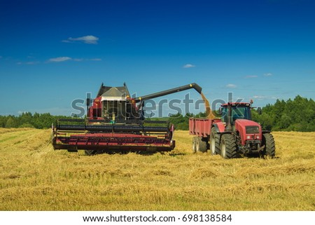 Agricultural machinery harvester, tractor on a yellow field #698138584