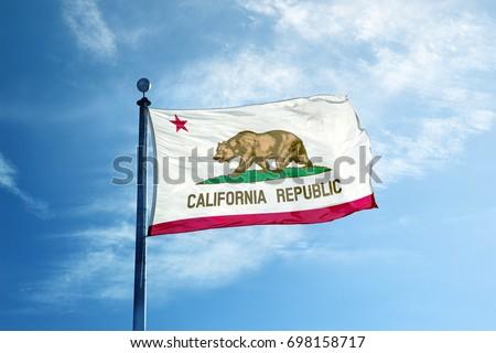 LOS ANGELES, CALIFORNIA - JUNE 16, 2016: Republic California flag on the mast #698158717