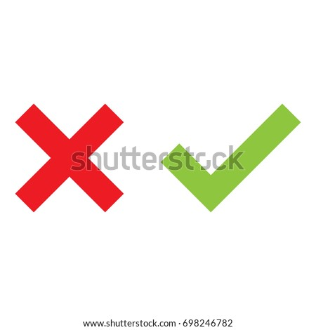 check mark and cross mark isolated vector