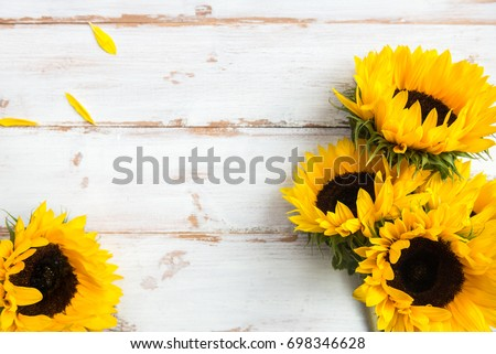 Yellow Sunflower Bouquet on White Rustic Background, Autumn Concept, Top View, Space for Text #698346628