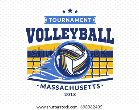 Volleyball logo, emblem, icons, designs templates with volleyball ball, net and flame on a light background