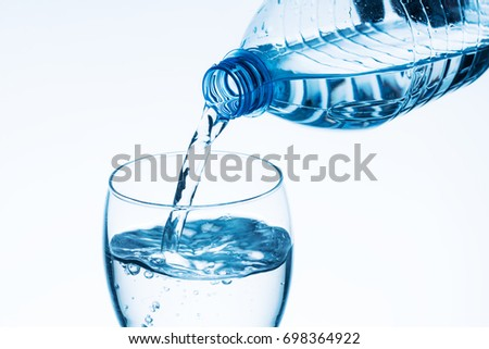 Pouring water into a glass #698364922