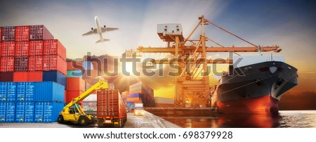 Logistics and transportation of Container Cargo ship and Cargo plane with working crane bridge in shipyard at sunrise, logistic import export and transport industry background #698379928