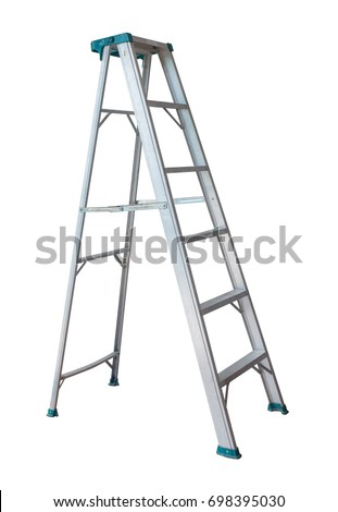 Metal ladder isolated on white background. #698395030