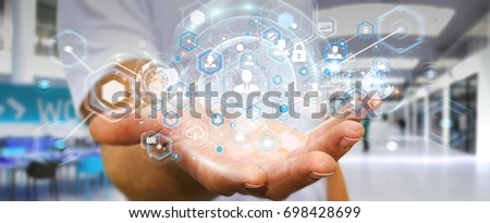 Businessman on blurred background using social network interface 3D rendering #698428699