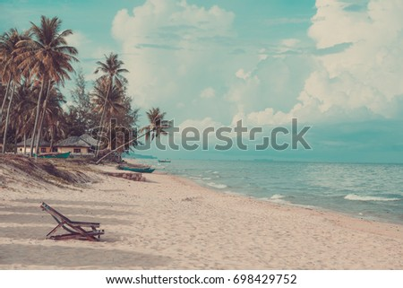 Coconut palm tree on the summer beach vitnage filtered photo