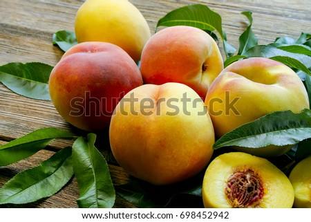 Peaches. close-up. #698452942