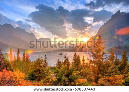 Saint Mary Lake and Wild Goose Island, Glacier National Park, Montana, America #698507443