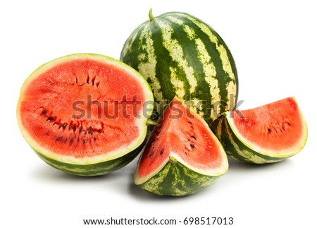 sliced watermelon path isolated #698517013