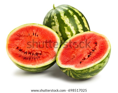 sliced watermelon path isolated #698517025