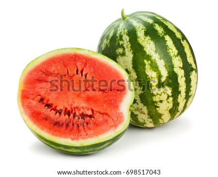 sliced watermelon path isolated #698517043