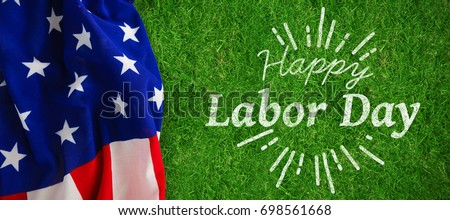 Digital composite image of happy labor day and god bless America text against closed up view of grass #698561668