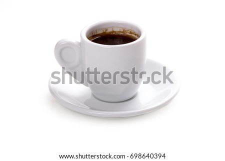 a cup of caffee on white backround #698640394