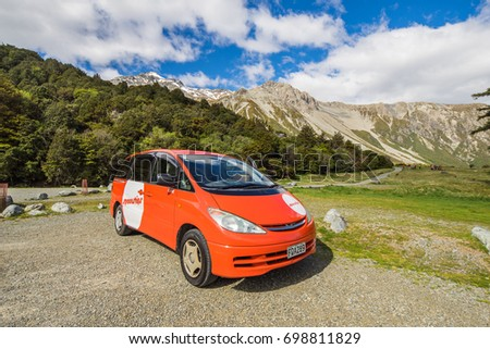 November 12, 2016 - Tourist campervan at the White Horse Hill campsite near Mount Cook National Park, South Island, New Zealand. #698811829