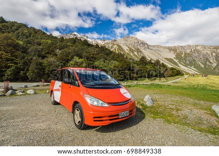 November 12, 2016 - Tourist campervan at the White Horse Hill campsite near Mount Cook National Park, South Island, New Zealand. #698849338