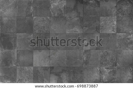 Slate tile ceramic, seamless texture square dark gray map for 3d graphics #698873887