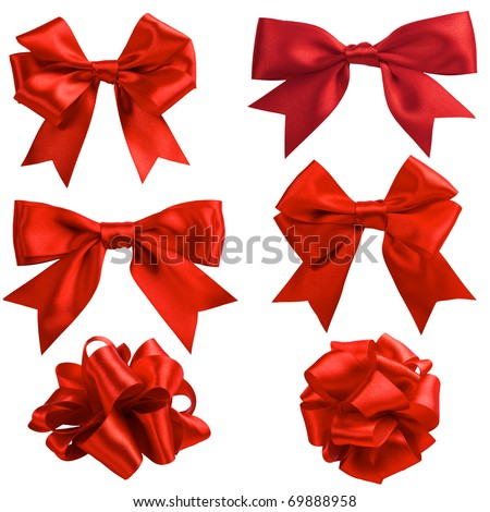set of six red ribbon satin bows isolated on white Royalty-Free Stock Photo #69888958