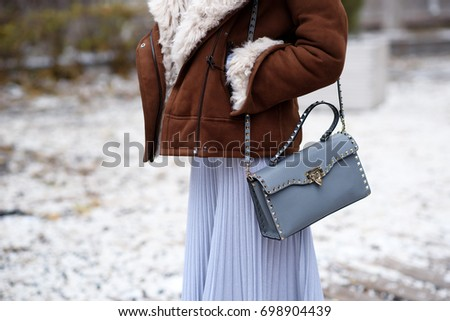 Street style winter fashion , professional model. Fashion photography. Winter look.