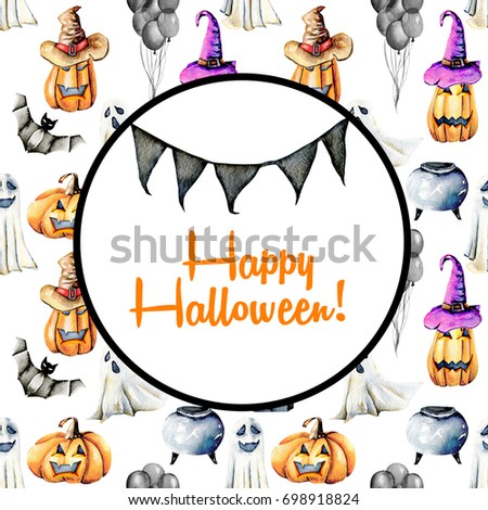 Card template, circle frame on watercolor Halloween background, hand painted on a white background #698918824