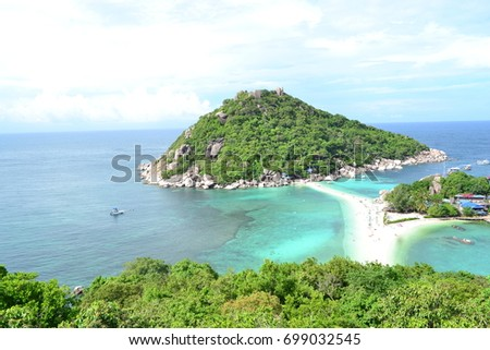 Top view it so beautiful sea and clear , good view at  Koh Nang Yuan, Thaidand #699032545